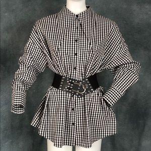 NWT Zara Oversized Men's Style Gingham Blouse sz L